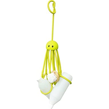 Formverkert Octopus Shower Caddy (in Green)- Shower Gel Shampoo Conditioner Brush Razors Toys Accessories Holder, 9 Slots, Fits All Sized Bottles, Stylish Fun Bath Shower Organizer, Designed in Sweden