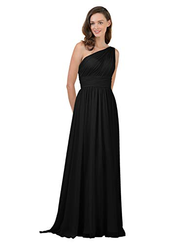 Alicepub ワンショルダー ブライズメイド ドレス シフォン ロング マキシ フォーマル ドレス レディース パーティー US サイズ: 18 Plus カラー: ブラック