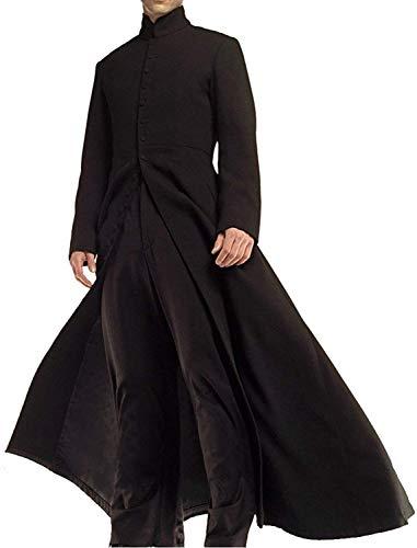 HiFacon Abrigo negro Matrix Neo Keanu Reeves con cuello redondo para hombre