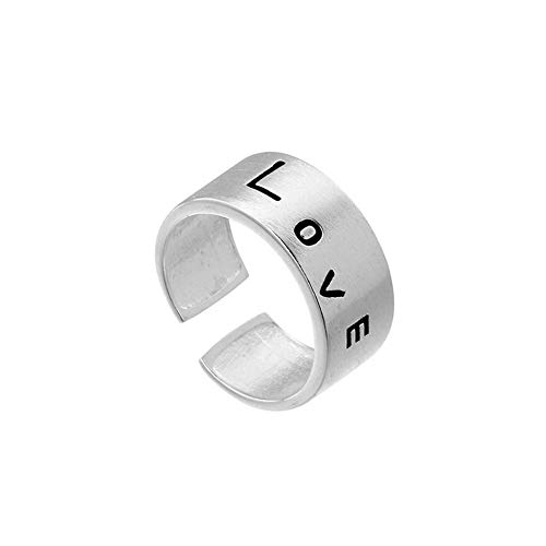 Family Needs Sterling Silver Adjustable Circular Ring LOVE Design Fashion Simple Persoonlijkheid Graceful losgemaakt Ring (Color : White, Size : Opening)