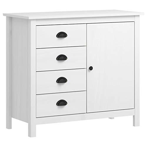 Lechnical Aparador Hill Range blanco mueble lateral armario de cocina armario Hall unidad de vestuario mueble base madera de pino macizo 91 × 40 × 80 cm