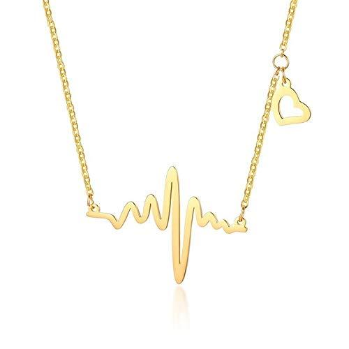 Collares Colgante Joyas Solo para El Latido del Corazón Collares Mujer Chica Tono Dorado Acero Inoxidable Promesa De Amor Joyería-Nc-246G_Necklace