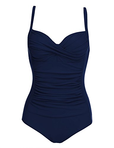 luxilooks Women's Retro Inspired Tankini High Cut One Piece Swimwear Bathing Suits(Navy Blue,X-Small)