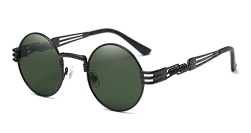 Dollger Gafas de sol Steampunk Retro estilo John Lennon para mujeres y hombres, gafas redondas Hippie UV400 con protección, lentes planas con montura metálica(Lente verde cristal / marco negro)