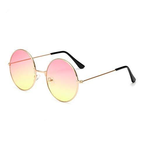YIERJIU Gafas de Sol Metal Round Fashion Lentes Navy Gafas de Sol Rojas Hombres y Mujeres Personalidad Prince Uv400,S