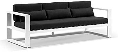 Santorini 3 Seater Outdoor Aluminium Lounge - White W/Denim, White with Denim Grey - Outdoor Aluminium Lounges, Outdoor Furniture - Bay Gallery Furniture