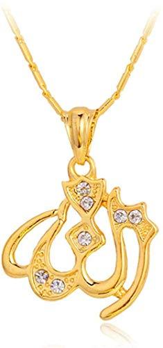 AOAOTOTQ Co.,ltd Collar Alá Collares Colgantes Joyería Musulmana para Mujeres Collar de Diamantes de imitación de Color Dorado de Moda