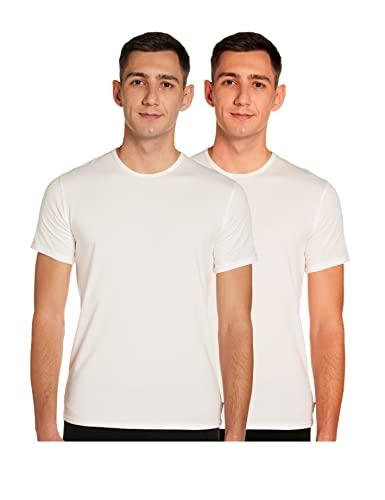 Calvin Klein 2P S/S Crew Neck Camiseta, Blanco (Blanco 100), XL para Hombre
