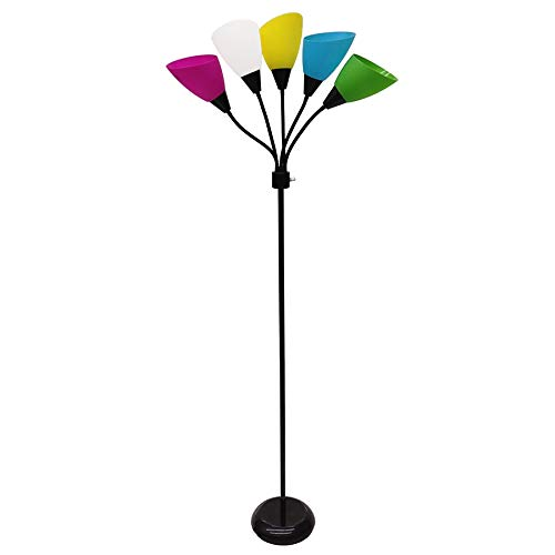 Multi light floor lamps ez home decorations five light floor lamp with multi colored shades mozeypictures Gallery