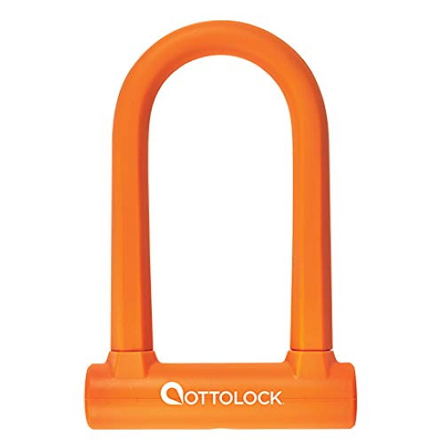 OTTOLOCK Sidekick Kompaktes U-Lock Fahrradschloss 7 cm x 14,5 cm, wiegt nur 750 Gramm und ist silikonbeschichtet Orange