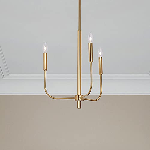 MOTINI 3-Light Farmhouse Chandelier in Gold Brushed Brass Finish, Hanging Candle Pendant Lighting Fixtures for Kitchen Island Dining Room
