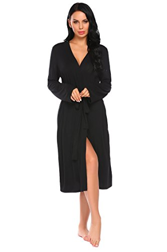 ADOME Damen Bademantel Morgenmantel Robe Saunamantel mit V Ausschnitt Lang Reisebademantel Kimono Pyjama für Herbst Winter Frauen Schwarz