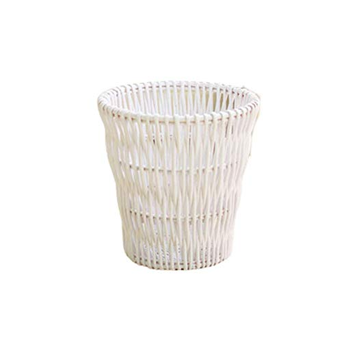 ZR&YW Baskets Natural Round Willow Wicker Waste Basket, Round Woven Waste Bin Waste Paper without Lid for Bedrooms Living Rooms Kitchen,White