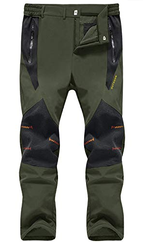 TACVASEN Waterproof Trousers Mens Motorcycle Trousers Waterproof Walking Trousers Slim Fit Casual Trousers Fleece Winter Trousers with Pockets Softshell Trousers Army Green