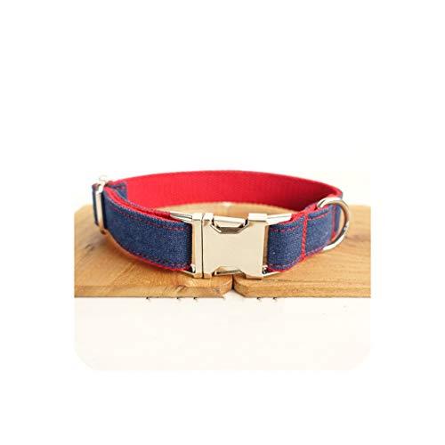 Groene Plaid Denim Jeans Hond Collars Verstelbare Huisdier Traction Set Hond Kraag Leash Set Ketting voor Kleine Grote Honden, M neck 42-48cm, collar1