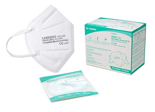 Mascarilla FFP2 CE 1463 WottoCare, 20 uds FFP2 Protección Personal. Bolsa Individual 5 capas. Alta eficiencia filtración. Pinza Nasal Suave/Ajustable, Mascarilla Profesional