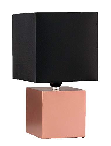 Preisvergleich Produktbild MiniSun Moderne Touch-Me Tischlampe in Form eines Würfels mit kupferfarbenem Finish und schwarzem Stoffschirm inklusive Kabel und Stecker Touch-Me Tischleuchte