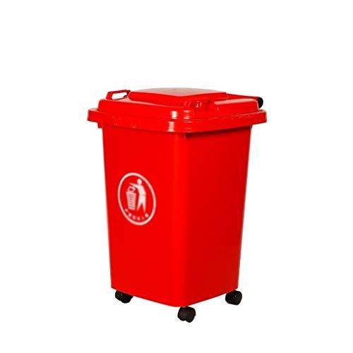AOYANQI-Cubos de basura Cubos de basura con ruedas, color múltiple al aire libre de basura clasificada papelera de plástico grueso comercial puede fáciles de mover el bote de basura con tapa Bajo tech