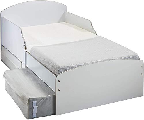 HelloHome dziecięce białe łóżko dla malucha ze schowkiem, wymiary konstrukcyjne (w przybliżeniu) 59 cm (wys.) x 77 cm (szer.) x 142 cm (dł.)