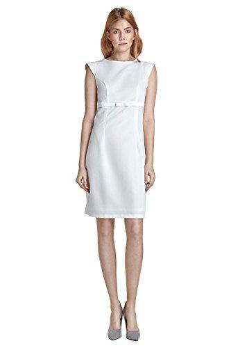 VictoriaV nife Damen Kleid Etuikleid Bleistiftkleid Pencilkleid Hochzeit Standesamt Ärmellos Knielang Ecru Weiß Größe 40