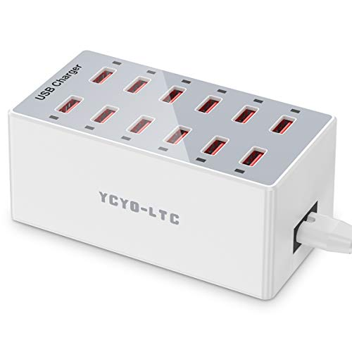 USB Charger 12-Ports USB Charging Station for Multiple Devices USB Wall Charger Power Hub Strip Rapid Smart Plug Fast Charging Dock Block for iPhone Xs/XR,iPad,iPod,Galaxy S9/S8,Laptop and More