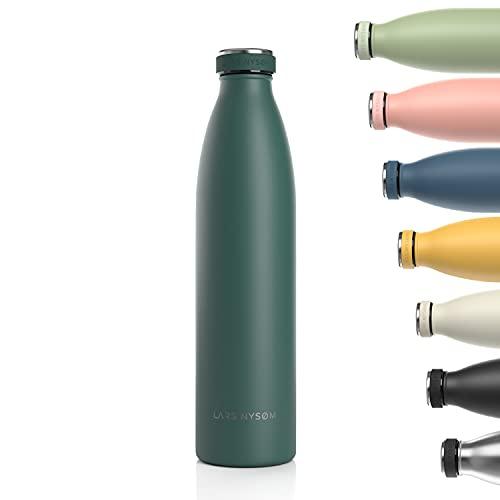 Lars NYSØM Gourde INOX 1000ml | 1L Bouteille d'eau isolée sans BPA | Gourde étanche pour Le Sport, la Bicyclette, Les Enfants