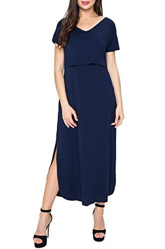 Smallshow Damen Umstandsmode Stillkleid Umstandskleid Schwangerschaft Umstands Long Kleid Navy XXL