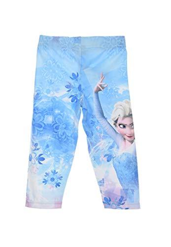 Frozen - Die Eiskönigin Leggings 3/4 Länge für Kinder ELSA und Anna mit Yuhu Bande Namens-Aufkleber Sticker, Farbe:Blau, Größe:110-116 (5/6 A)