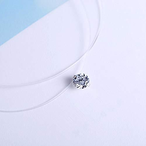 FQSCX, Collar, joyería, Moda, Invisible, Transparente, línea de Pesca, Collar, Colgante de Diamantes de imitación, Cuello de circonita, Encaje, joyería para Mujer, circonio8mm