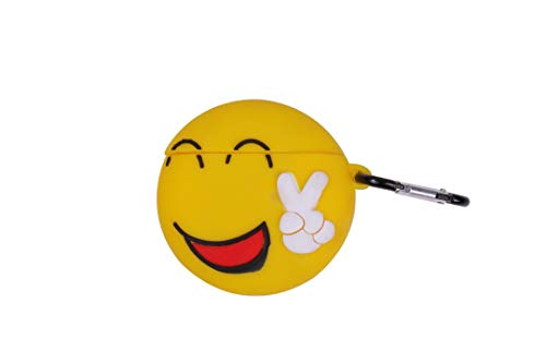 Cute Emoji face   Headphone Charging Cases for Apple airpods   Silicone Earphone Cover Accessories   Protective case with Hook (Funny)