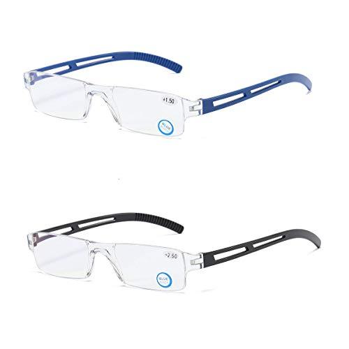 2 stueck Rahmenlose Lesebrille Sehhilfe mit Blaulichtflilter Anti Blaulicht Lesehilfe für Damen und Herren +2.0