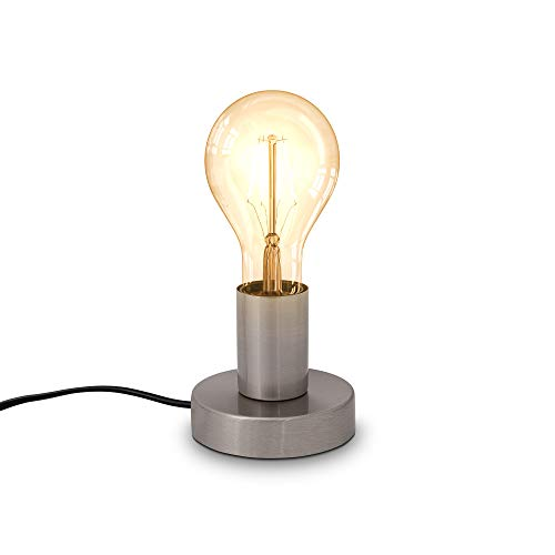 B.K.Licht, Lampada da tavolo, attacco per lampadina E27 non inclusa, interruttore sul cavo, diametro 10cm, abat-jour da comodino piccola in metallo color nickel opaco, luce da lettura industriale