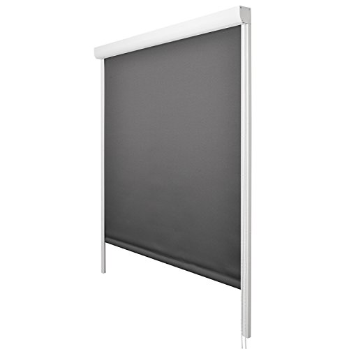 Sol Royal - Estor Enrollable Sol Reflect K24-80x175 cm - Persiana 100% oscurescente con rieles de guía - Antracita