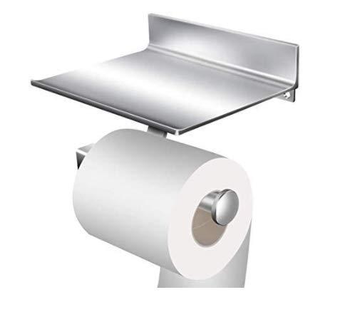 StillCool Portarrollo para Papel Higiénico de Aluminio rollo de papel Sin Taladro Con dos adhesivos 3M y el estante del almacenaje del teléfono móvil