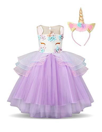 NNJXD Partido del Unicornio Flor de Las Muchachas del Traje de Cosplay de la Boda de Halloween de fantasía de Princesa Dress + del Mismo tamaño Gorras (130) 6-7 Años Púrpura