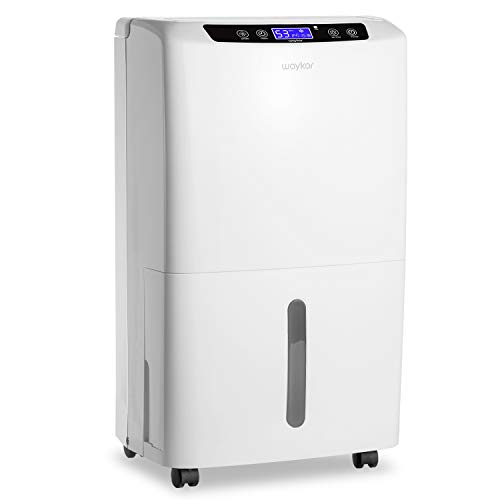 Waykar 40 Pint Dehumidifier for Home Basements Bedroom with Drain Hose and Intelligent Humidity Control, Continuously Removes 5 Gallons of Moisture/Day in Spaces up to 2000 Sq. Ft,New Version