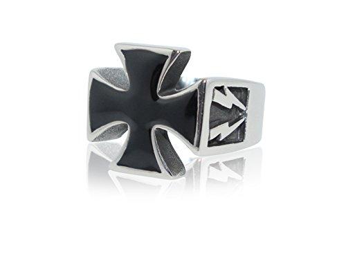 Herren Eisernes Kreuz Ring aus Edelstahl mit schwarzem Stein Silberweiß Ringe Iron Cross Ritterkreuz Biker Rocker Stainless Steel Black Stone (67 (21.3))