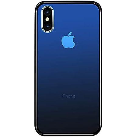 SUMart iPhone X ケース グラデーション 強化ガラスケース 硬度9H TPUバンパー ハードケース おしゃれ qi対応 傷つき防止 (iPhone X, ロイヤルブルー)