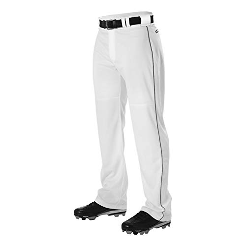 Alleson Adult Pro Warp-Knit Baseball Pants - Full Relaxed Fit with Piping - White/Graphite - X-Large