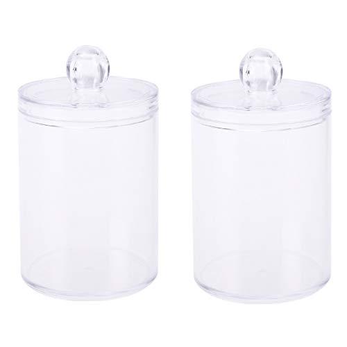 DOITOOL 2 Piezas Transparente Organizador de algodones con Tapas dispensador Discos desmaquillantes organizadores de cosméticos para baño