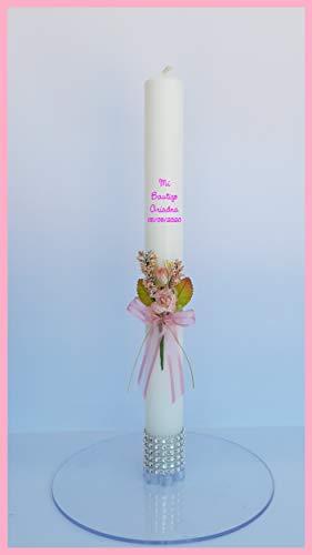 FIESTADEKOR Vela/Cirio para Bautizo de Cera Blanca Decorada con Pick Floral, Cinta y Lazo de Organza y remate de brillantitos Plateados en su Base. Medida 3x30cm. (Rosa Personalizada)
