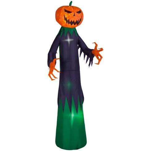 Gemmy 9 Foot Tall Fire & Ice Swirling Light Pumpkin Reaper Halloween Airblown Inflatable