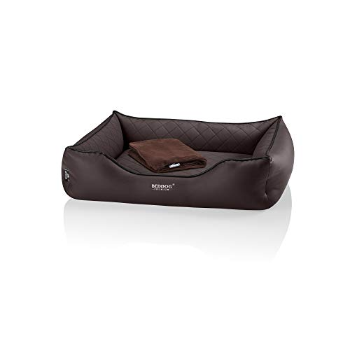 BedDog Premium Orthopädisches Hundebett Buffy, Hundesofa aus Kunstleder, Abnehmbarer Bezug, Kuschel-Decke Zugabe - Chocolate (braun)