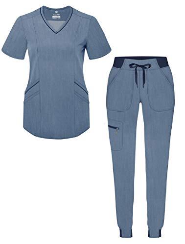 Adar Pro Heather Modern Athletic Scrub Set for Women - Modern V-Neck Scrub Top & Yoga Jogger Scrub Pants - P9500H - Heather Navy - S