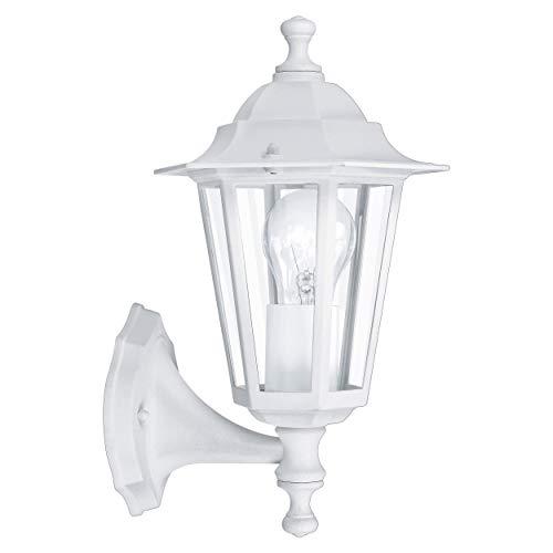 EGLO Lámpara de Pared de Exterior Laterna 5, Luz de Exterior de 1 Foco, Lámpara de Pared de Aluminio Fundido y Cristal, color Blanco, Portalámparas E27, IP44