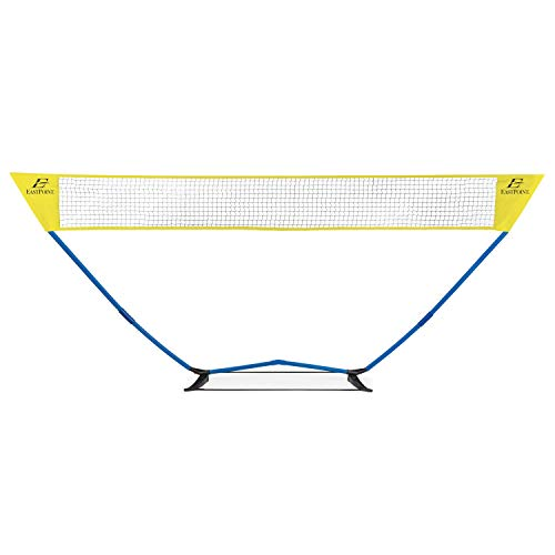EastPoint Sports Easy Setup Badminton Set; Backyard Game Includes Portable Net, 4 Badminton Rackets, 2 Shuttlecocks and Accessory Bag for Storage, Yellow
