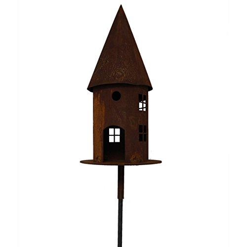 Saremo Metall Vogelhaus in Edelrostoptik rund auf Metallplatte Ø 22cm | 2-teilig inklusive Stab 120 cm
