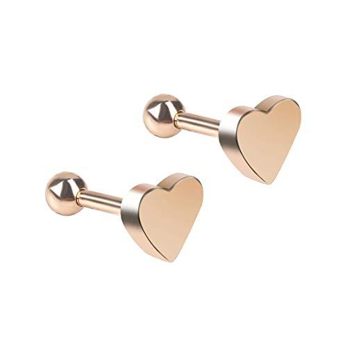 Pendientes con Forma de corazón para Mujer, joyería para perforar, Pendientes Tragus, cartílago, hélice, Oreja, Hueso, Clavo, Nariz, Oro Rosa