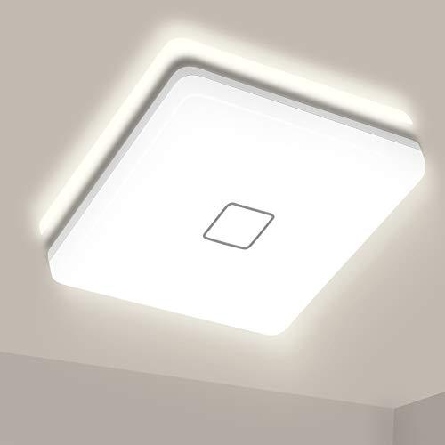Plafones LED Techo, Airand 24W Cuadrado Lámpara de Techo 4000K Blanco Natural 2050LM Billante Eficiente Energía Impermeable IP44 luz de techo LED para Baño Cocina Dormitorio Balcón Corredor Oficina