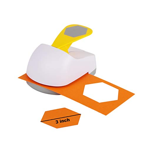Craft Lever Punch 3 inch Hexagon Punch DIY Handmade Paper Punch (White 3inch Hexagon)